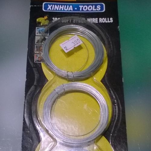 Xinhua 3db 15m acélhuzal tekercsben  3pc 50ft steel wire rolls 390Ft